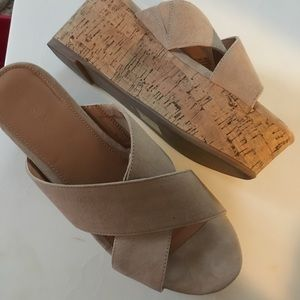 J Crew Suede Leather Cork Wedge Sandals 9 Nude Tan